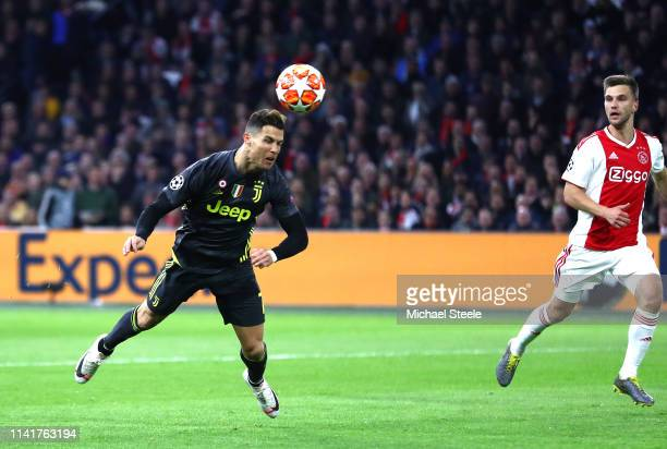 Cristiano Ronaldo of Juventus scores his team's first goal during the UEFA Champions League Quarter Final first leg match between Ajax and Juventus...