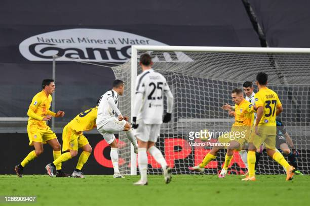 Cristiano Ronaldo of Juventus scores his team's first goal during the Serie A match between Juventus and Cagliari Calcio at Allianz Stadium on...