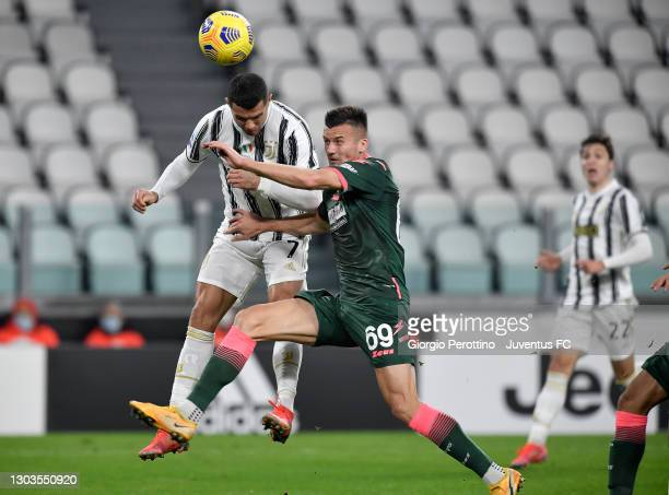 Cristiano Ronaldo of Juventus scores his team's first goal during the Serie A match between Juventus and FC Crotone at Allianz Stadium on February...