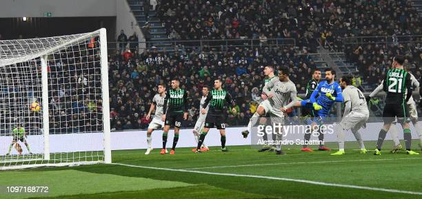 Cristiano Ronaldo of Juventus scores his team's second goal during the Serie A match between US Sassuolo and Juventus at Mapei Stadium Citta' del...