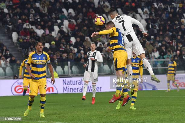 Cristiano Ronaldo of Juventus scores his team's third goal during the Serie A match between Juventus and Parma Calcio at Allianz Stadium on February...