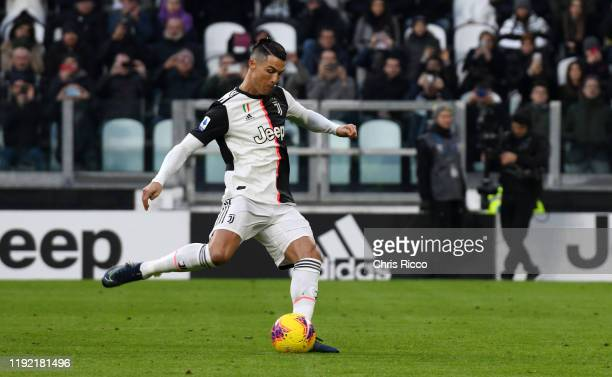 Cristiano Ronaldo of Juventus scores penalty during the Serie A match between Juventus and Cagliari Calcio at Allianz Stadium on January 6 2020 in...