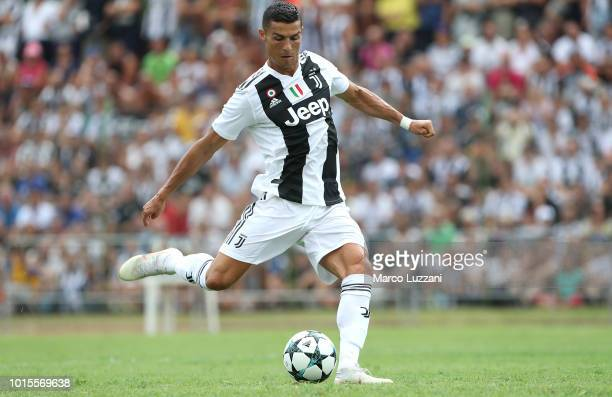 Cristiano Ronaldo of Juventus scores the opening goal during the PreSeason Friendly match between Juventus and Juventus U19 on August 12 2018 in...