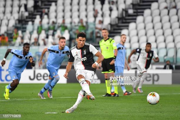 Cristiano Ronaldo of Juventus scores the opening goal from the penalty spot during the Serie A match between Juventus and SS Lazio at Allianz Stadium...