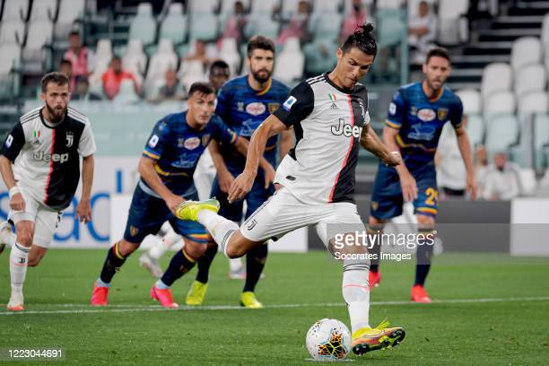 Cristiano Ronaldo of Juventus scores the second goal to make it 2-0 during the Italian Serie A match between Juventus v Lecce at the Allianz Stadium...