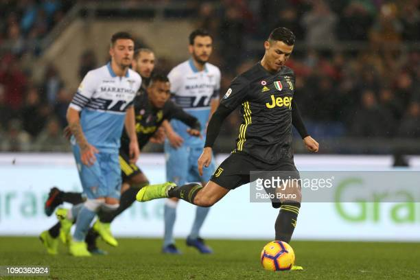 Cristiano Ronaldo of Juventus scores the team' second goal from penalty spot during the Serie A match between SS Lazio and Juventus at Stadio...