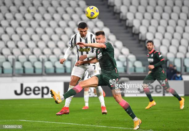 Cristiano Ronaldo of Juventus scores their team's first goal during the Serie A match between Juventus and FC Crotone at Allianz Stadium on February...