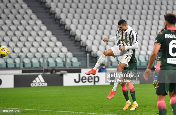 Cristiano Ronaldo of Juventus scores their team's second goal during the Serie A match between Juventus and FC Crotone at Allianz Stadium on February...