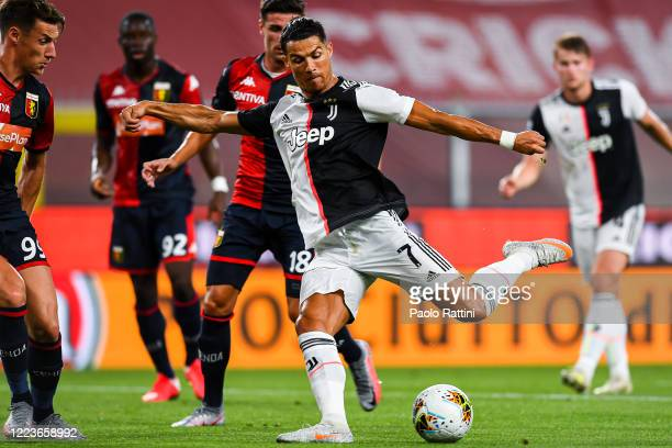 Cristiano Ronaldo of Juventus shoots at goal during the Serie A match between Genoa CFC and Juventus FC at Stadio Luigi Ferraris on June 30 2020 in...