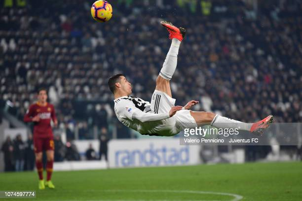 Cristiano Ronaldo of Juventus shoots the ball on overturned during the Serie A match between Juventus and AS Roma on December 22 2018 in Turin Italy
