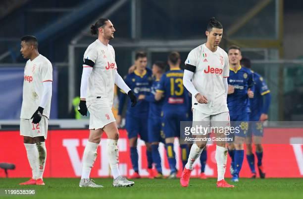 Cristiano Ronaldo of Juventus shows his dejection during the Serie A match between Hellas Verona and Juventus at Stadio Marcantonio Bentegodi on...