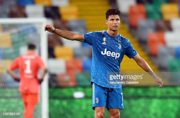 Cristiano Ronaldo of Juventus shows his dejection during the Serie A match between Udinese Calcio and Juventus at Stadio Friuli on July 23 2020 in...