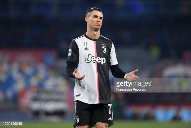 Cristiano Ronaldo of Juventus stands disappointed during the Serie A match between SSC Napoli and Juventus at Stadio San Paolo on January 26 2020 in...