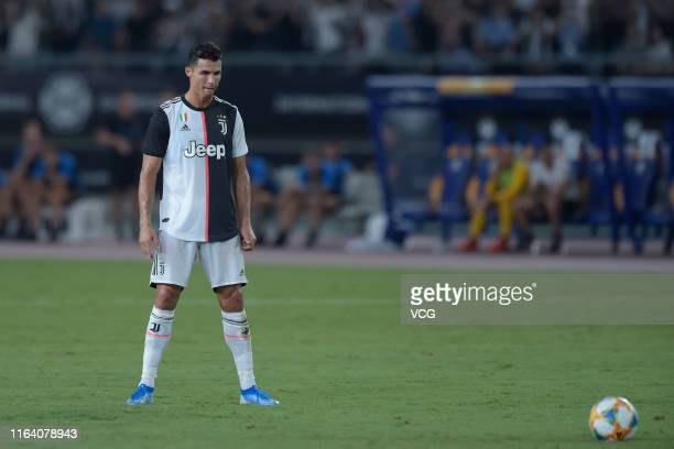 Cristiano Ronaldo of Juventus takes a freekick during the International Champions Cup match between Juventus and FC Internazionale at the Nanjing...