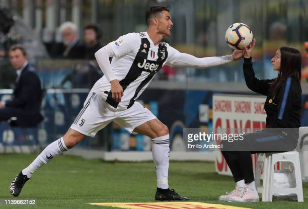 Cristiano Ronaldo of Juventus takes the ball during the Serie A match between FC Internazionale and Juventus at Stadio Giuseppe Meazza on April 27...