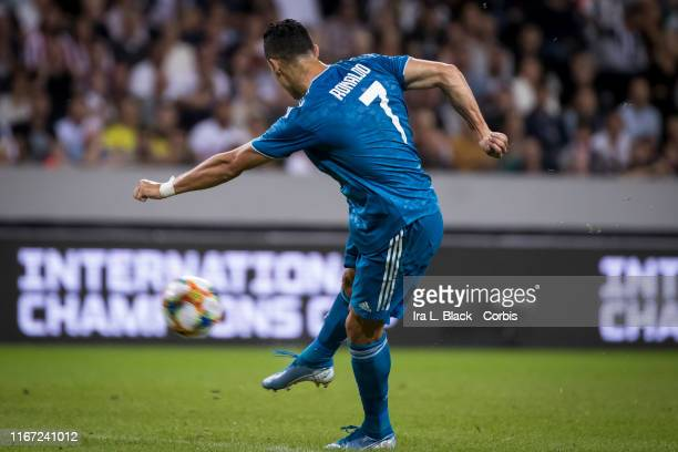 Cristiano Ronaldo of Juventus takes the shot on goal with the International Champions Cup logo behind him during the international Champions Cup...
