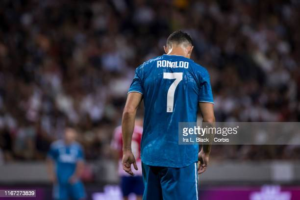 Cristiano Ronaldo of Juventus walks back after a missed shot on gaol during the International Champions Cup Friendly match between Atletico de Madrid...