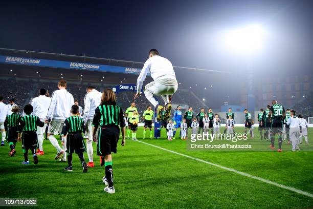 Cristiano Ronaldo of Juventus walks out ahead of the Serie A match between US Sassuolo and Juventus at Mapei Stadium Citta' del Tricolore on February...