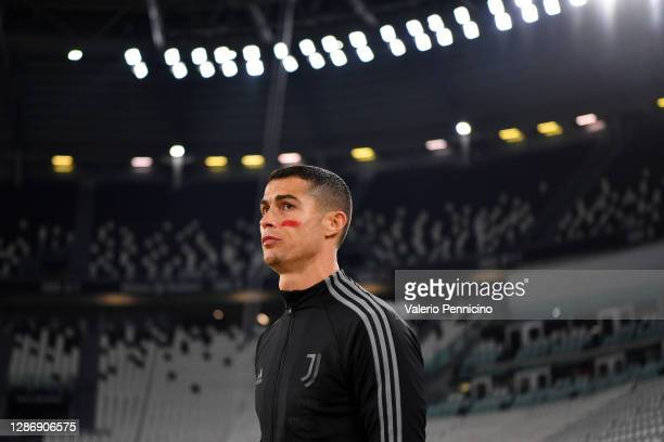Cristiano Ronaldo of Juventus walks out prior to the Serie A match between Juventus and Cagliari Calcio at Allianz Stadium on November 21, 2020 in...