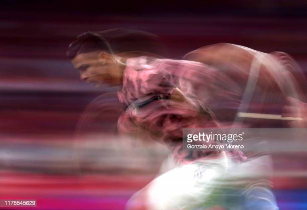 Cristiano Ronaldo of Juventus warms up during the UEFA Champions League group D match between Atletico Madrid and Juventus at Wanda Metropolitano on...