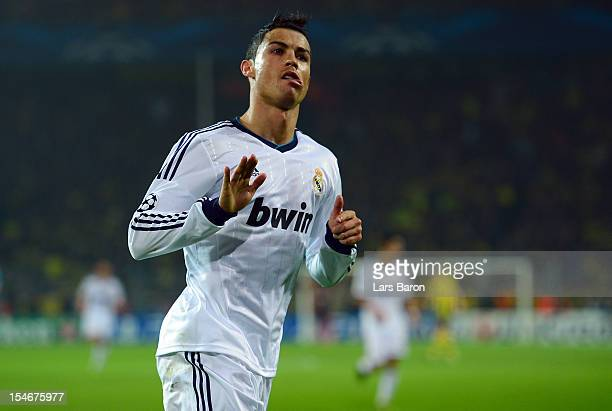 Cristiano Ronaldo of Madrid celebrates after scoring his teams first goal during the UEFA Champions League group D match between Borussia Dortmund...