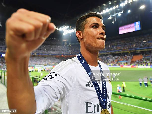 Cristiano Ronaldo of Madrid celebrates after the UEFA Champions League Final match between Real Madrid and Club Atletico de Madrid at Stadio Giuseppe...