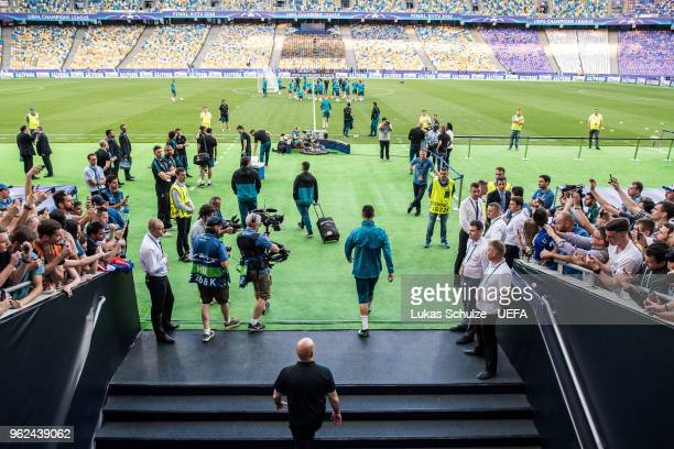 Cristiano Ronaldo of Madrid enters the pitch for a Real Madrid training session ahead of the UEFA Champions League final between Real Madrid and...