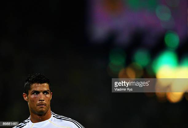 Cristiano Ronaldo of Madrid is seen during the friendly match between Borussia Dortmund and Real Madrid at the Signal Iduna Park on August 19 2009 in...