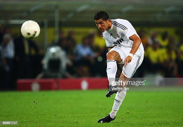 Cristiano Ronaldo of Madrid shoots from a free kick during a friendly match between Borussia Dortmund and Real Madrid at the Signal Iduna Park on...