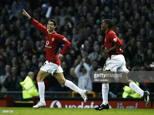 Cristiano Ronaldo of Man Utd celebrates after scoring the second goal during the FA Barclaycard Premiership match between Manchester United and...