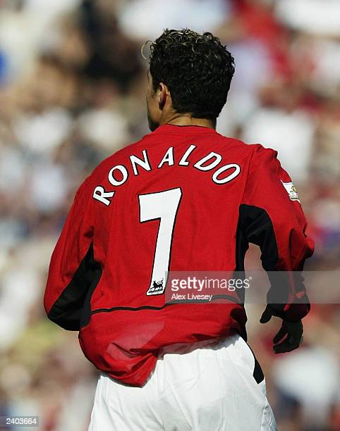 Cristiano Ronaldo of Man Utd makes his debut during the FA Barclaycard Premiership match between Manchester United and Bolton Wanderers at Old...