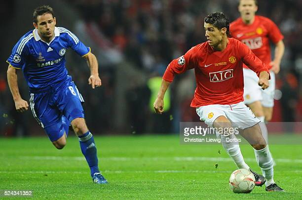 Cristiano Ronaldo of Manchester chased by Frank Lampbard during the UEFA Champions League Final between Chelsea and Manchester United at the Luzhniki...