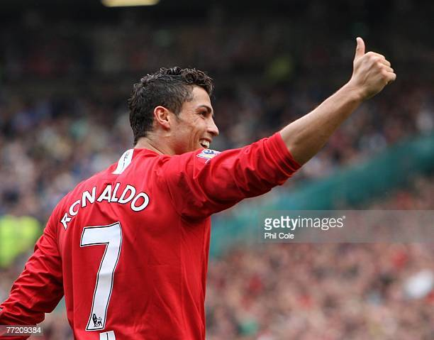 Cristiano Ronaldo of Manchester United 2scores against Wigan Athletic during the Barclays Premier League match between Manchester United and Wigan...