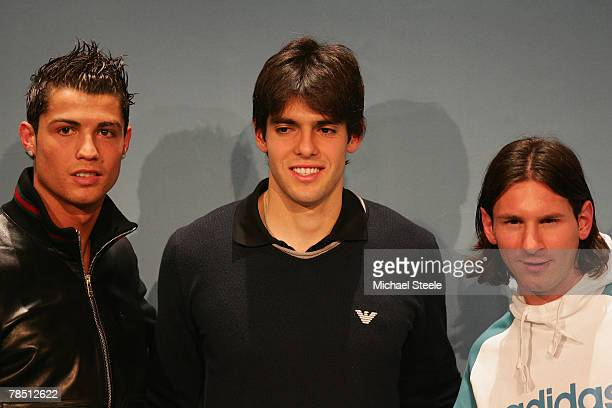 Cristiano Ronaldo of Manchester United and Portugal poses alongside Kaka of AC Milan and Brazil and Lionel Messi of Barcelona and Argentina during...