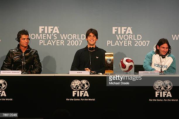 Cristiano Ronaldo of Manchester United and Portugal sits alongside Kaka of AC Milan and Brazil and Lionel Messi of Barcelona and Argentina during the...