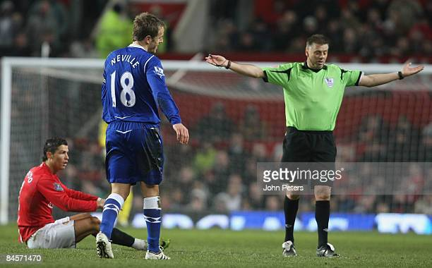Cristiano Ronaldo of Manchester United appeals to referee Mark Halsey during the Barclays Premier League match between Manchester United and Everton...