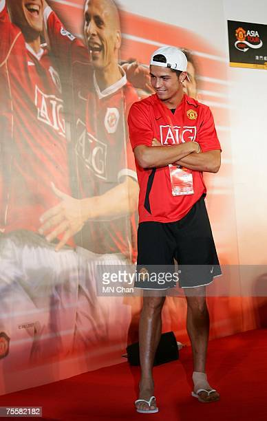 Cristiano Ronaldo of Manchester United attends a news conference on July 21 2007 in Macau China Manchester United and Chinese Super League team...