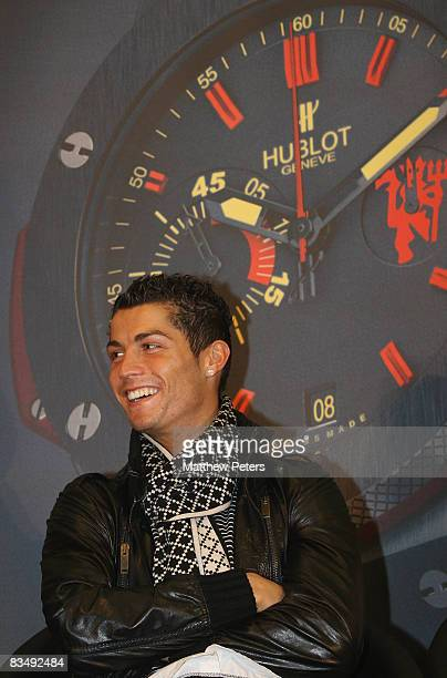 Cristiano Ronaldo of Manchester United attends a press conference to announce Hublot Watches as the official timekeeper of Manchester United at Old...