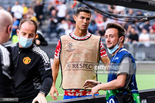 Cristiano Ronaldo of Manchester United attends as a ball he has kicked hit the steward during the UEFA Champions League group F match between BSC...