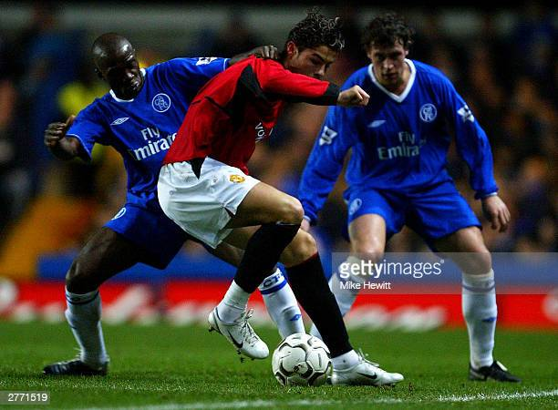 Cristiano Ronaldo of Manchester United battles with Claude Makelele of Chelsea during the FA Barclaycard Premiership match between Chelsea and...