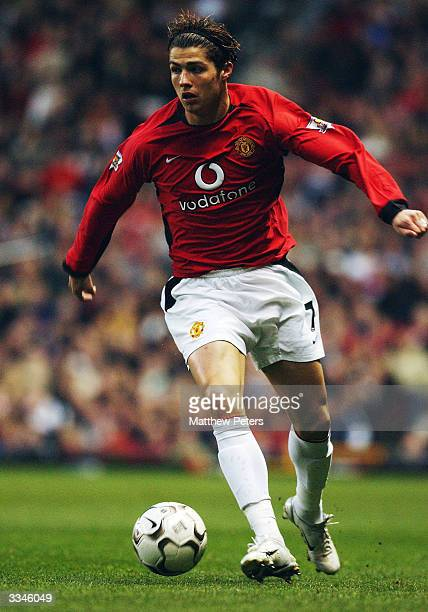 Cristiano Ronaldo of Manchester United brings the ball forward during the FA Barclaycard Premiership match between Manchester United and Leicester...