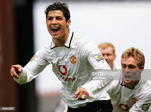 Cristiano Ronaldo of Manchester United celebrates after scoring the first goal during the FA Barclaycard Premiership match between Aston Villa and...