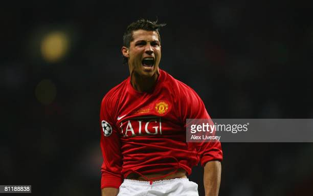 Cristiano Ronaldo of Manchester United celebrates after scoring the opening goal during the UEFA Champions League Final match between Manchester...