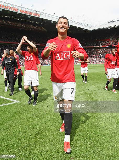 Cristiano Ronaldo of Manchester United celebrates after the Barclays Premier League match between Manchester United and Arsenal at Old Trafford on...