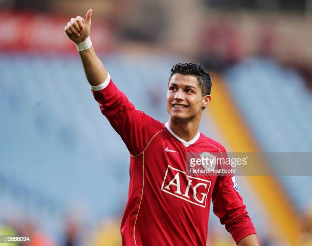 Cristiano Ronaldo of Manchester United celebrates after the final whistle during the FA Cup Semi Final sponsored by E.ON between Watford and...
