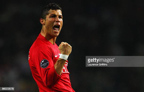 Cristiano Ronaldo of Manchester United celebrates following the UEFA Champions League Quarter Final second leg match between FC Porto and Manchester...
