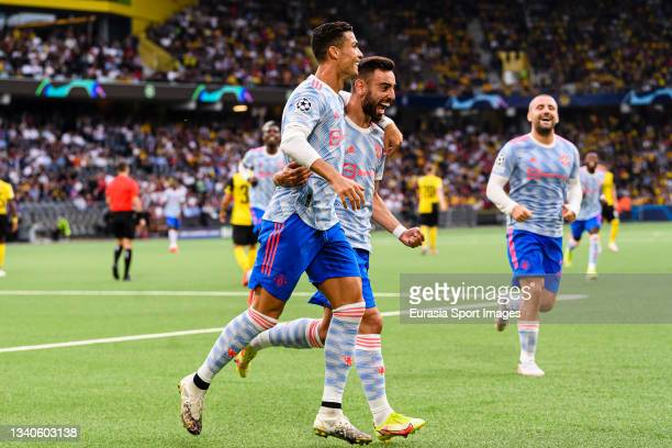 Cristiano Ronaldo of Manchester United celebrates his goal with his teammate Bruno Fernandes of Manchester United during the UEFA Champions League...