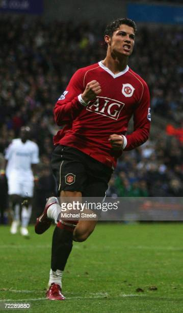 Cristiano Ronaldo of Manchester United celebrates scoring his team's third goal during the Barclays Premiership match between Bolton Wanderers and...