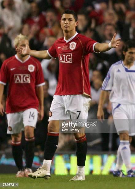 Cristiano Ronaldo of Manchester United celebrates scoring his team's third goal during the UEFA Celebration match between Manchester United and...