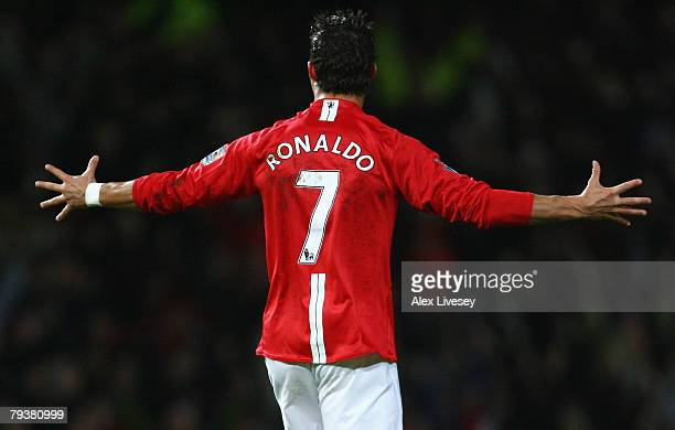 Cristiano Ronaldo of Manchester United celebrates scoring his team's second goal during the Barclays Premier League match between Manchester United...